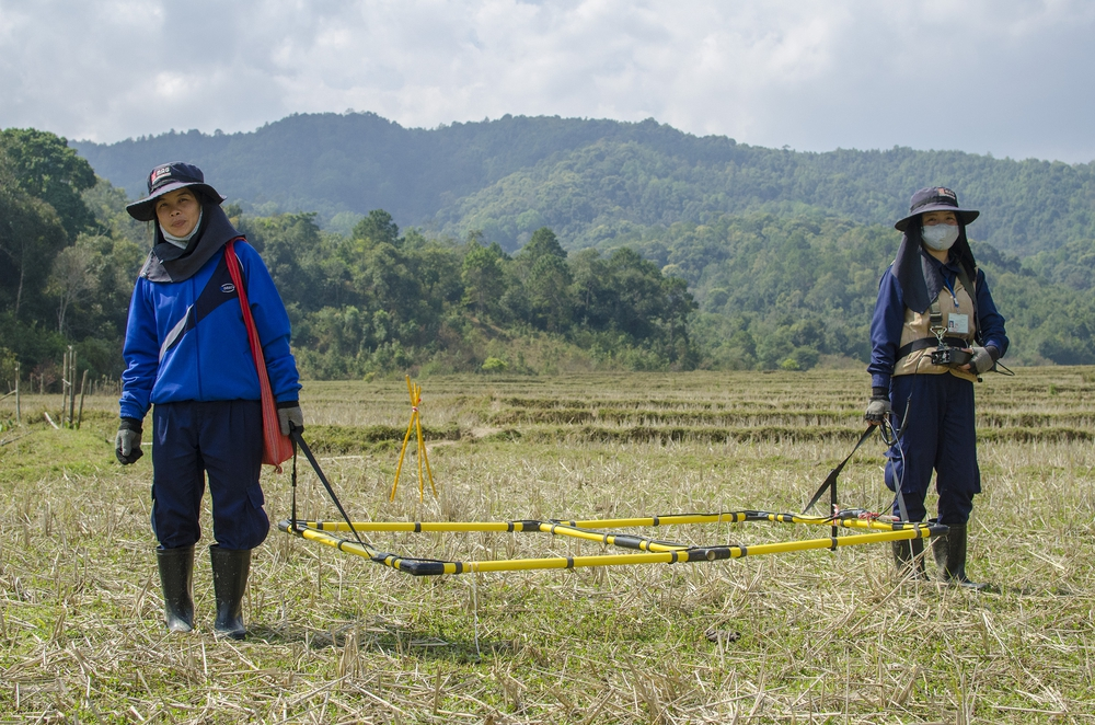 MAG Teams using a Large Loop Detector to help rid the land of unexploded bombs