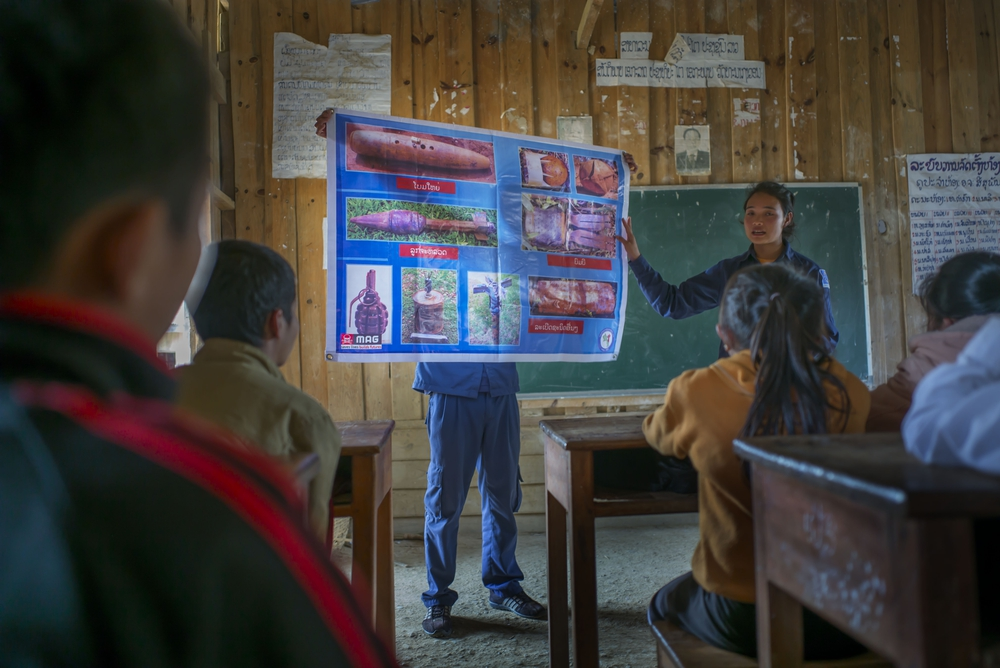 MAG Teams in Laos delivering life-saving risk education lessons